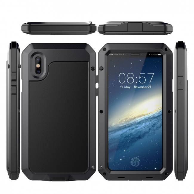 pretty nice 1ea7a 2061a Shockproof Gorilla Glass Metal Case for iPhone X XS
