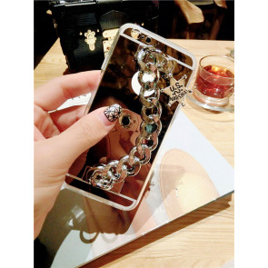 Metal Chain Clutch Reflective Case for iPhone 6 6s Plus With Emblem
