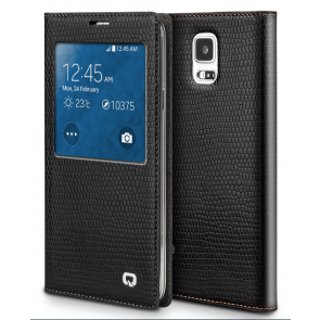 Executive Premium Handcrafted Leather S-View Case for Galaxy S5 Black Lizard Scales