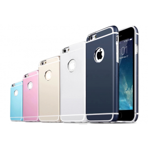 Sleek Metallic Full Protection Apple Logo Case for iPhone 6 (4.7 inches)