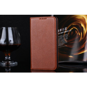 Real Premium Leather Wallet Folio Galaxy S5 Case and Stand Brown