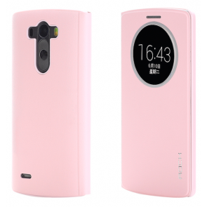 LG G3 Rock Quick Circle Leather Case Pink